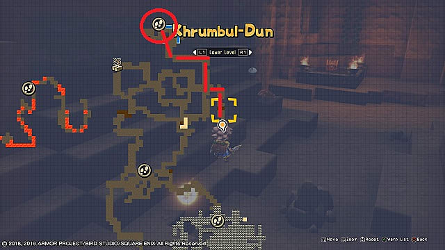 Khrumbul-Dun mine map with silvery sludge location