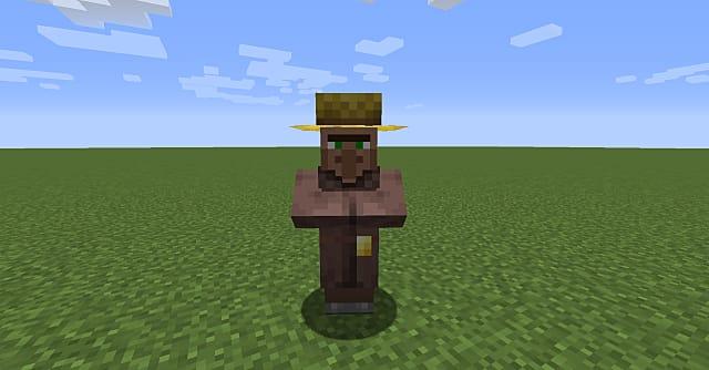 A farmer villager in Minecraft.
